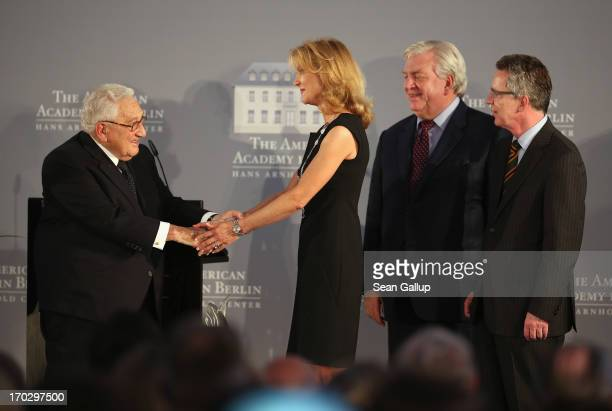 Countess Vera de Lesseps shakes the hands of former US Secretary of State Henry Kissinger before accepting the Henry A Kissinger Prize on behalf of...