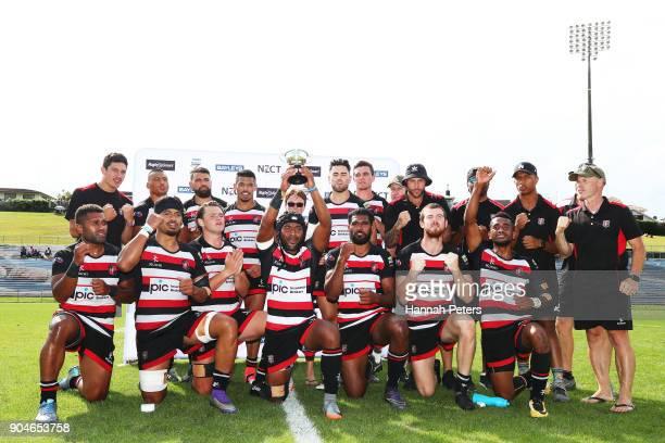 Counties Manukau celebrate after winning the Bayleys National Sevens Men's Bowl Final match between Counties Manukau and Canterbury at Rotorua...