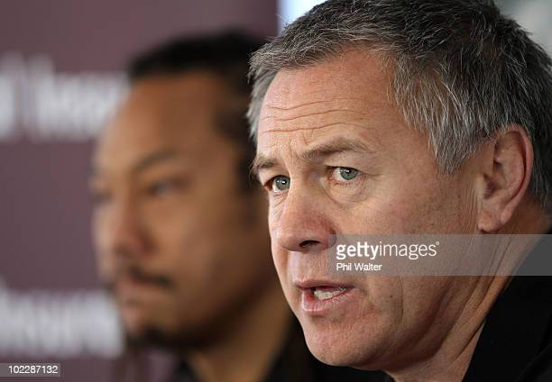 Counties Manukau head coach Milton Haig and player and assistant coach Tana Umaga hold a press conference at Bayer Growers Stadium at Pukekohe on...