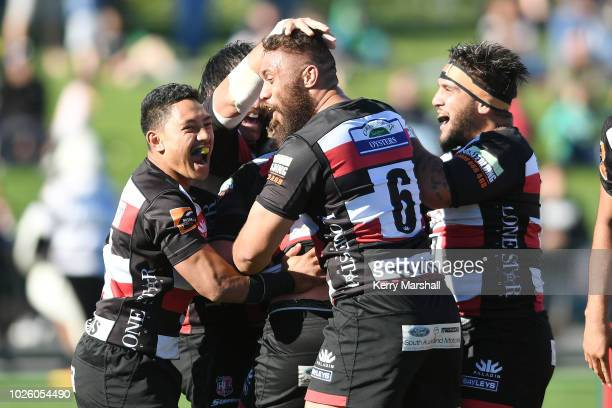 Counties Manukau players celebrate a try during the round three Mitre 10 Cup match between Hawke's Bay and Counties Manukau at McLean Park on...