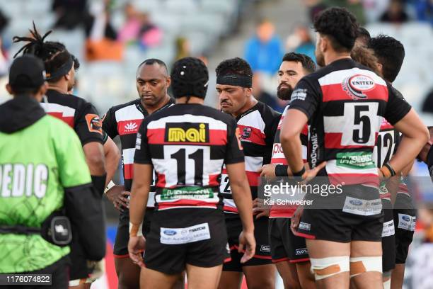 Counties players look dejected after conceding a try during the round 7 Mitre 10 Cup match between Southland and Counties Manukau at Rugby Park on...