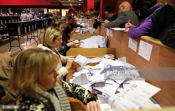 Counting begins in the home town of Fine Gael party leader Enda Kenny Castlebar in western Ireland on February 27 a day after the polls closed in the...