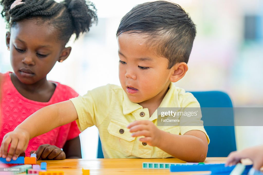 Counting Blocks in Class : Stock Photo