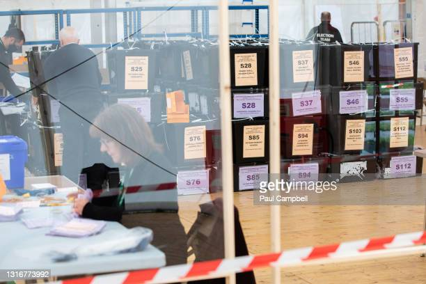 Counting gets underway for the Skye, Lochaber and Badenoch Constituency and Regional votes on May 7, 2021 in Inverness, Scotland. Voting has...