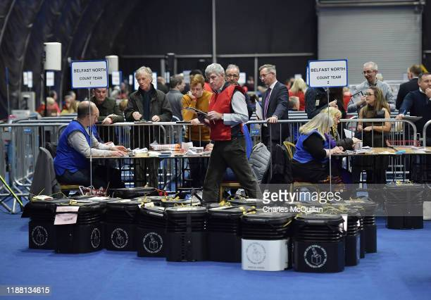 Counting of the votes in the north Belfast contest takes place in the Belfast count centre at the Titanic Exhibition centre on December 12 2019 in...