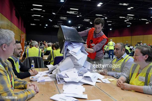 Counting of votes for the European election gets under way at the Edinburgh International Conference Centre on May 26 2019 in Edinburgh Scotland...