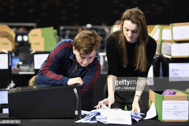 Counting of votes gets underway in the Scottish Local Government election at the Emirates Arena on May 5 2017 in Glasgow Scotland The first results...