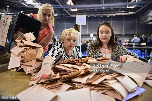 Counting staff check ballot papers in the Scottish Parliament elections at the Emirates Arena on May 5 2016 in GlasgowScotland The first declarations...