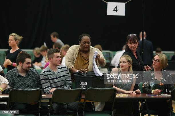 Counting staff ready to sort ballots at a counting centre in Maidenhead on June 8 after the polls closed in Britain's general election Prime Minister...