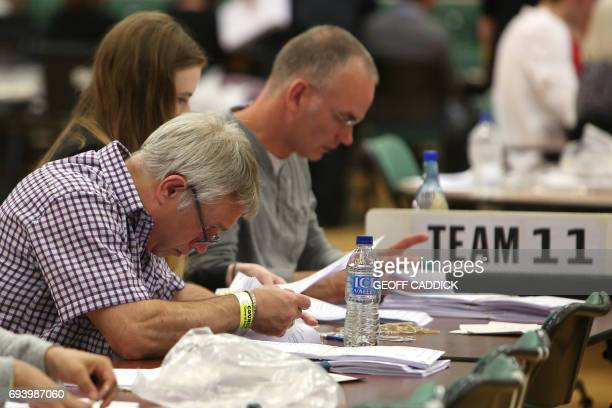 Counting staff sort ballots at a counting centre in Maidenhead on June 8 after the polls closed in Britain's general election Prime Minister Theresa...
