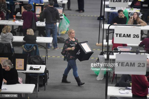 Counting takes place at the General Election count at the Sports Training Village University of Bath on December 13 2019 in Bath England The current...