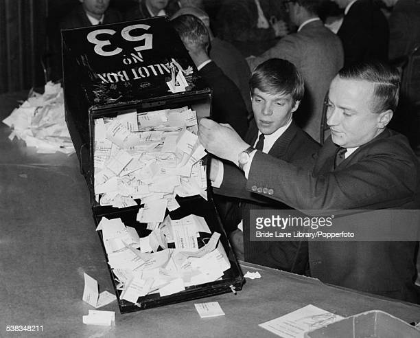 Counting the votes at Lambeth Town Hall during the General Election London 15th October 1964