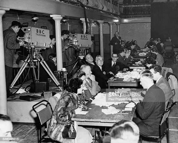 Counting the votes for Fulham West and Fulham East at Fulham Baths in London during the General Election 25th October 1951