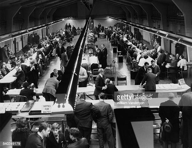 Counting votes in Romford for the General Election 16th October 1964