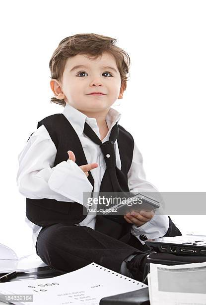 counting with the fingers young businessman - fun calculator stock photos and pictures
