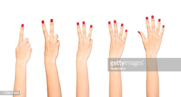 Frau Hände zählen