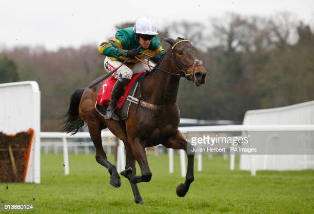 Countister and Barry Geraghty pull away from the last flight before winning The Betfred 'Home Of Goals Galore' Novices' Hurdle Race run during...