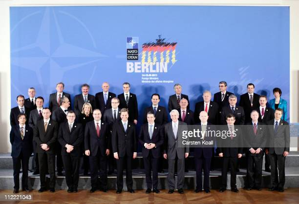 NATO countries Foreign Ministers and representatives gather for a group photo at an informal meeting of NATO member foreign ministers on April 15...
