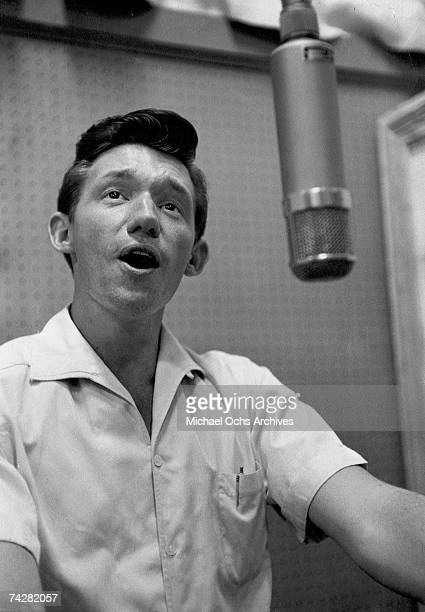 Country and Rockabilly star Bobby Lord in the recording studio circa 1958