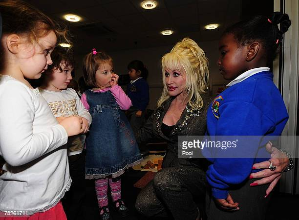 Country and western superstar singer Dolly Parton meets young schoolchildren at the Magna Science And Adventure Park on December 5, 2007 in...