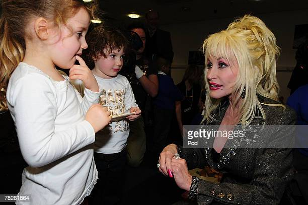 Country and western superstar singer Dolly Parton meets young children at the Magna Science And Adventure Park on December 5 2007 in Rotherham South...