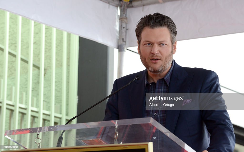 Country artist Blake Shelton at the Adam Levine Star On The Hollywood Walk Of Fame Ceremoney on February 10, 2017 in Hollywood, California.