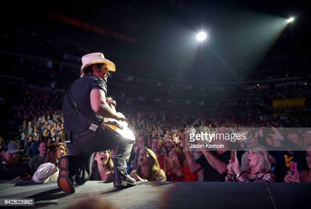 Country artist Brad Paisley performs at Bridgestone Arena on April 6 2018 in Nashville Tennessee