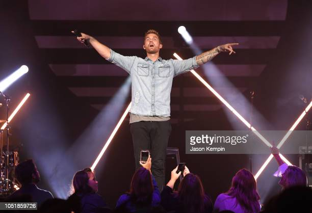 Country artist Brett Young performs at the Ryman Auditorium on October 10 2018 in Nashville Tennessee