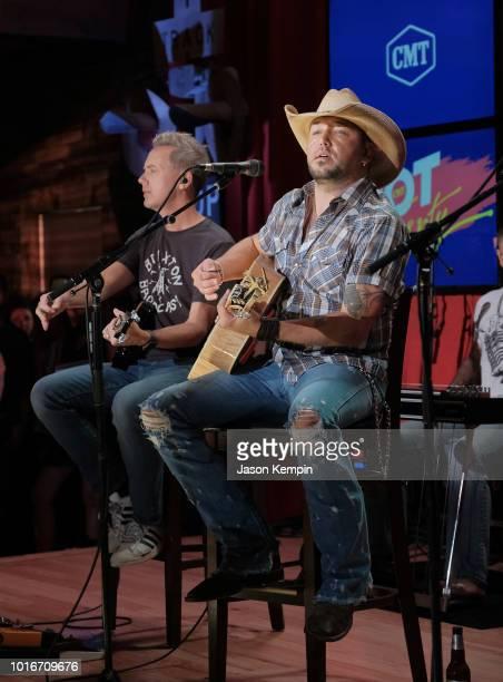 Country artist Jason Aldean performs at Jason Aldean's Kitchen Rooftop Bar on August 9 2018 in Nashville Tennesse