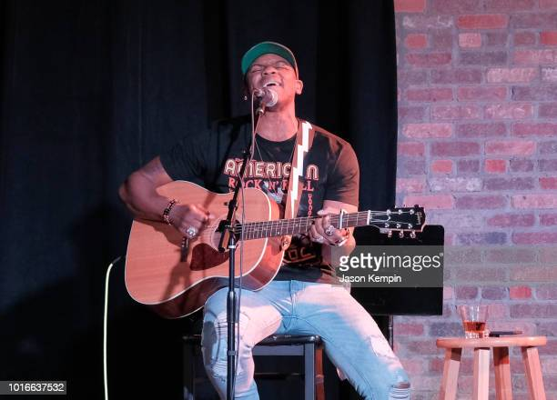Country artist Jimmie Allen performs at The Listening Room on August 13 2018 in Nashville Tennessee