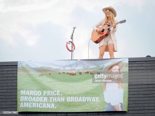 Country artist Margo Price performs on the roof at Third Man Records on September 13 2018 in Nashville Tennessee