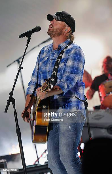 Country artist Toby Keith performs during the 2012 CMT Music Awards rehearsal at Bridgestone Arena on June 5 2012 in Nashville Tennessee