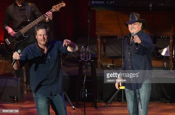 Country artists Blake Shelton and Trace Adkins perform at Ryman Auditorium on March 21 2018 in Nashville Tennessee
