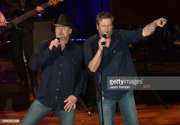 Country artists Trace Adkins and Blake Shelton perform at Ryman Auditorium on March 21 2018 in Nashville Tennessee