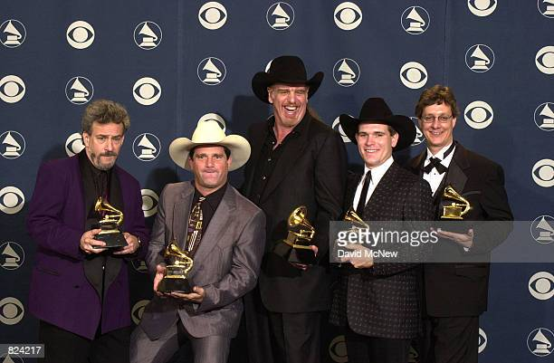 Country band Asleep At The Wheel pose with their awards backstage at the 43rd Annual Grammy Awards held at Staples Center February 21 2001 in Los...