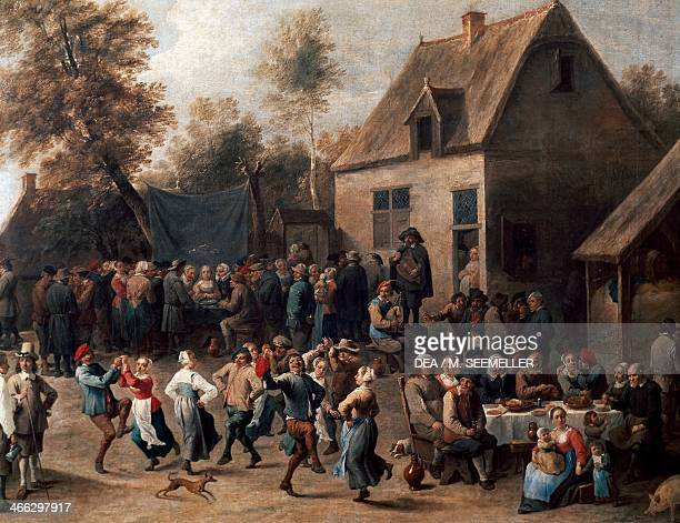 Country celebration painting by David Teniers the Younger oil on canvas 69x86 cm Detail