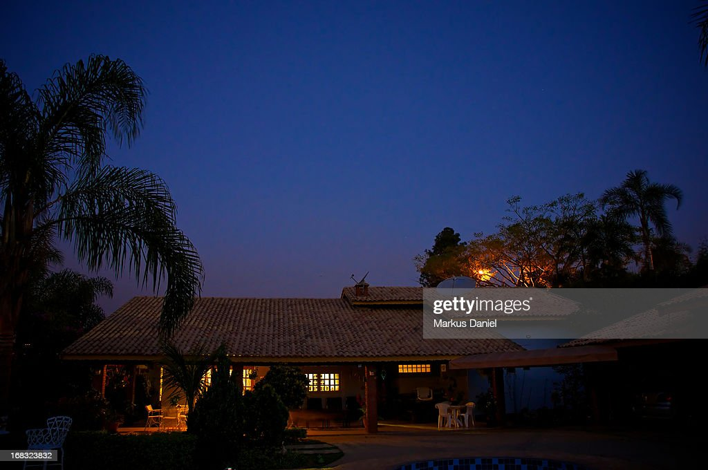 Country Chacara House Brazil Night Sky : Stock Photo