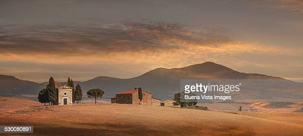 Country church and farmhouse in Tuscany