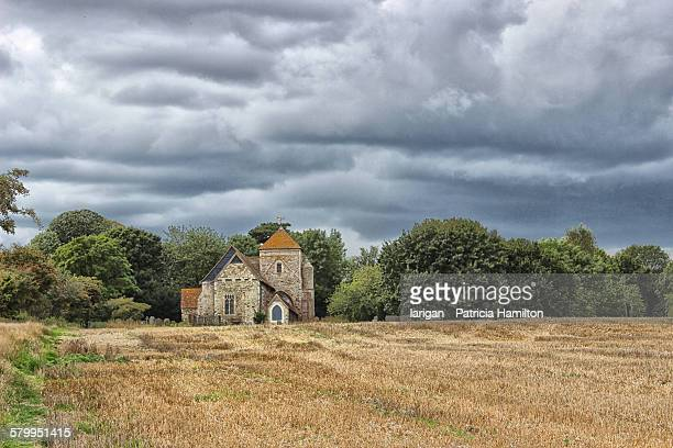 Country church in a field