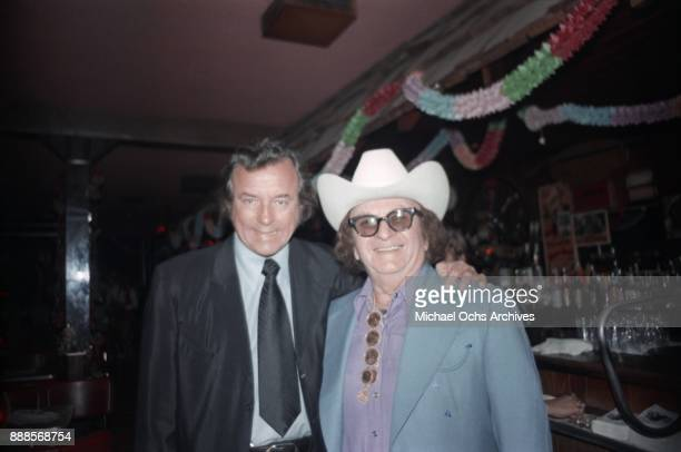 Country clothing designer Nudie Cohn and Palomino owner Tommy Thomas pose for a photo at The Palomino Club on March 20 1972 in the North Hollywood...