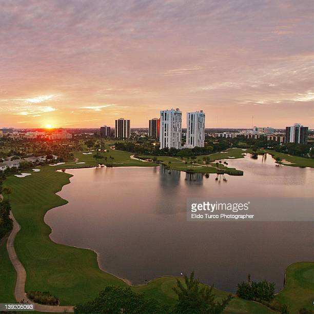 country club at sunset - aventura stock pictures, royalty-free photos & images