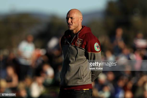 Country coach Craig Fitzgibbon watches on during during the warmup beforeup ahead of the 2017 City versus Country Origin match at Glen Willow Sports...