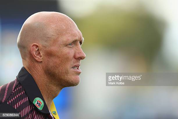 Country coach Craig Fitzgibbon watches on during the NSW Origin match between City and Country at Scully Park on May 8 2016 in Tamworth Australia