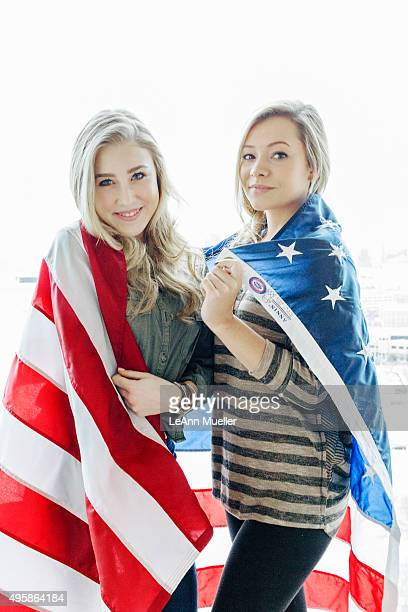 Country duo Maddie Tae Maddie Marlow and Taylor Dye are photographed for Texas Monthly Magazine on January 8 2015 in Dallas Texas