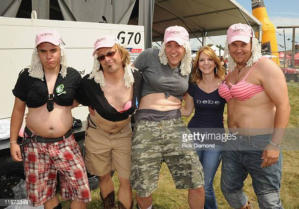 Country Duo The Roys Elaine Roys Lee Roys and band members Clint White Jeremy Westby and Zach Carter during Country Thunder music festival Day 3 on...
