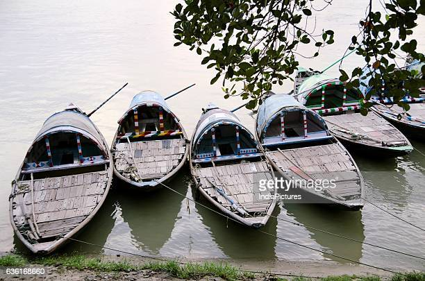 Country Fishing Boats In Hooghly River At Sunset