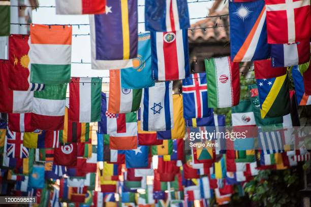 country flags bunting in cartagena - national flag stock pictures, royalty-free photos & images
