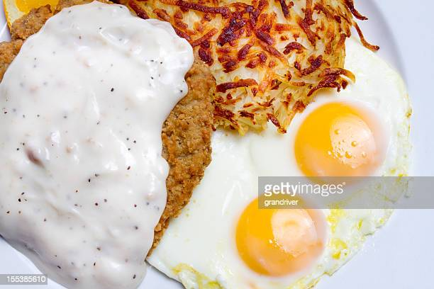 country fried steak and eggs - fried stock pictures, royalty-free photos & images