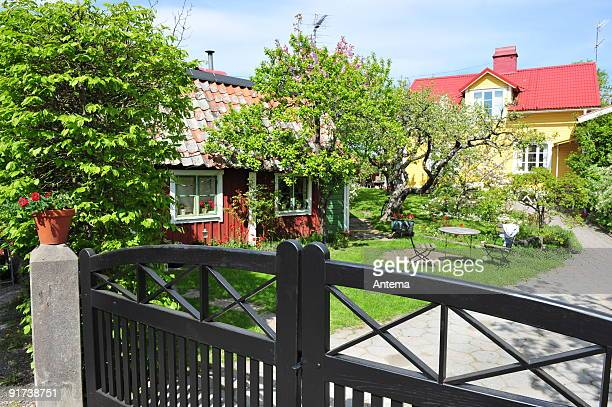 Country garden in Sweden at spring time.