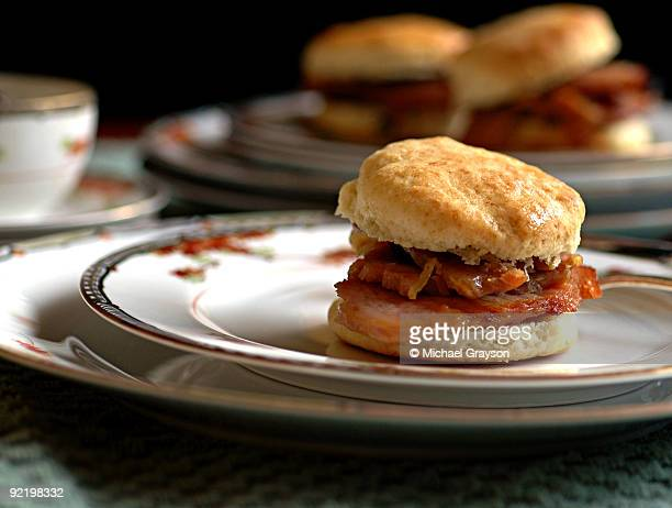 country ham biscuits - biscuit stock photos and pictures